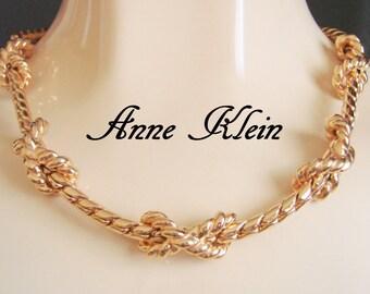 Vintage Anne Klein Statement Necklace / Designer Signed / Goldtone / Jewelry / Jewellery