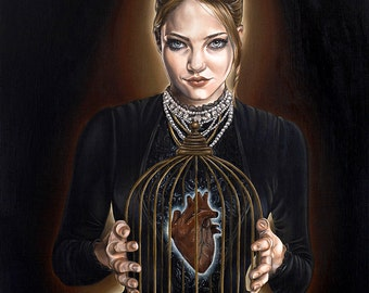 Super Limited Surreal Girl with Heart in Victorian Cage Dark Fantasy A3 Art Print