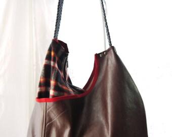 Leather Purse, Large Purse, Large Shoulder Bag, Leather Bag, Brown Purse, Leather And Wool Upcycled Bag Again