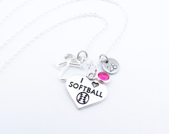 Softball Necklace, Softball Jewelry, Softball Gifts, Softball Player,  Gifts for Softball, Girls Softball Gift