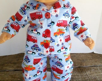 "American Girl 15 ""Bitty Twins Doll Clothing - Blue Flannel Emergency Transportation Pajamas Boy Twin"