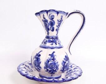 Vintage Portugal Cobalt Blue Pitcher Bowl Flow Blue Blue and White Ewer Basin Wine Carafe Chamber Pot Vanity Décor Decanter