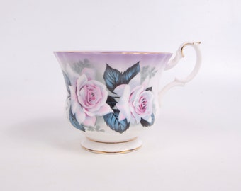 Vintage Royal Albert Teacup and Saucer Bone China England Pink Lavender Roses Hand Painted Footed Tea Cup