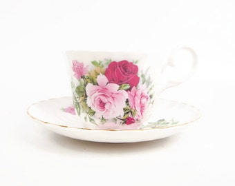 Vintage Royal Stuart Teacup Saucer England Hand Painted Roses Int Peace Garden Canada USA Fine Bone China