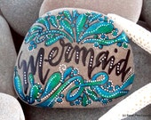 mermaid / painted rocks / painted stones / paperweights / beach art / beach decor / words in stone / rock art / hippie / mermaid art / rocks
