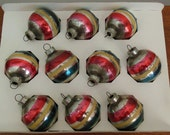 Holly Striped Christmas Ornaments Box of 10 Silver Glass Balls Red Yellow and Blue Made in US of A