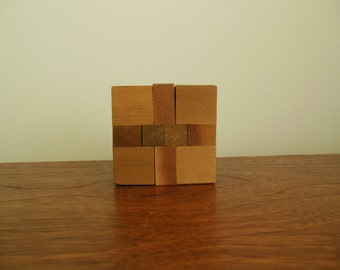 Wooden Puzzle Japanese Solid Wood Vintage Block Puzzle no Instructions