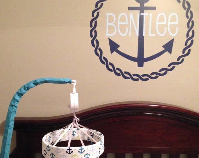 Personalized Anchor Decal Vinyl Wall Decal Nautical Anchor Name Wall Decal Rope Border Vinyl Wall Decal Nautical Preppy Nursery Bedroom