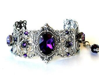 Silver Crystal Bracelet Swarovski Bracelet Purple Bracelet Gothic Wedding Jewelry Victorian Jewelry