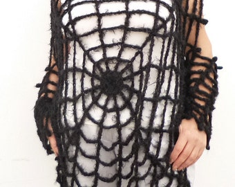 Black Gothic Cobweb Spiderweb Sweater Pullover See Through Mesh Blouse Oversized Sweater Halloween Sweater Spider Web Costume