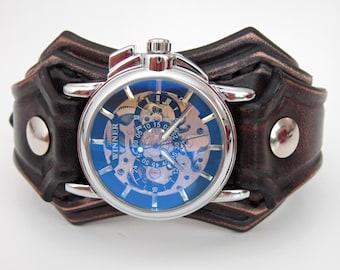 Black Leather Cuff, Wrist Watch, Black watch, Batman Watch, Black Watch Cuff