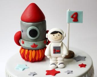 Fondant Rocket Ship and Astronaut Cake Topper Set - Fondant Rocketship Cake Topper - Fondant Space Topper - Fondant Astronaut - Rocket Party