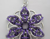 Celtic Star Purple Aluminum Chainmaille Pendant or Ornament