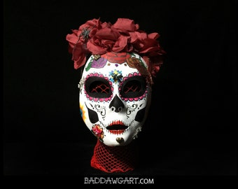 Hand Painted Day of the Dead Sugar Skull Face Mask
