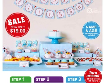 Wizard Of Oz Dorothy Birthday Party Package Personalized FULL Collection Set  - PRINTABLE DIY - PS805CA1x