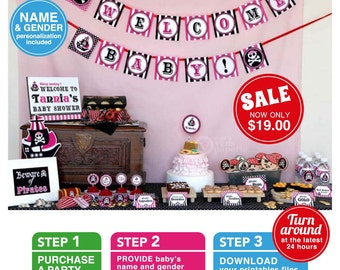 Pink Pirate Baby Shower Package Personalized FULL Collection Set - PRINTABLE DIY - BS831CA2x