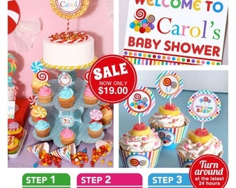 Candy Land Baby Shower Package Personalized FULL Collection Set - PRINTABLE DIY - BS832CA1x