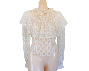White Lace Blouse Victorian Blouse Victorian Top Ruffle Shirt Ruffle Blouse Puffy Sleeve Shirt Ivory Blouse High Neck Blouse Ladies Blouse