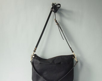 Zip Top  Waxed Canvas Cross Body Bag - NEVIS -  Black - Adjustable Leather Shoulder Bag Leather Shopper Bag by Holm