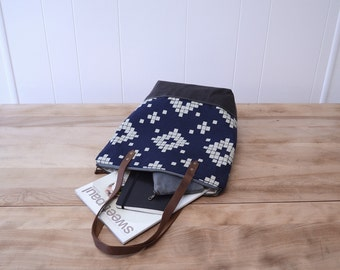 Zipper Tote Bag in Tile with Waxed Canvas