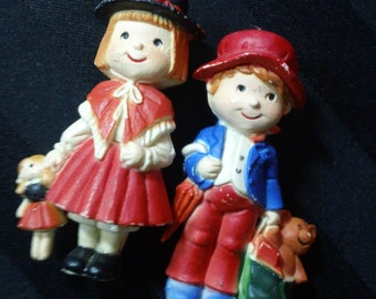 Set of Two Children with Toys ~ Vintage Pair of Hard Plastic Holiday Figurines