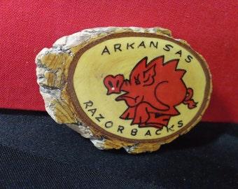 Vintage Handmade Arkansas Razorbacks Wood Refrigerator Magnet