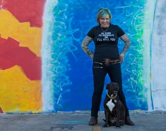 Womens Small to 2X Animal rights rescue charcoal BLACK t shirt Be kind to animals. Tongue and cheek vegan- Benefits dog cat rescue