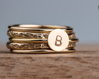 Custom Gold Initial Stacking Ring Set - 14K Gold Fill Letter Ring Set - Custom Monogram Stackable Stack Rings - Set of 5 Stack Rings