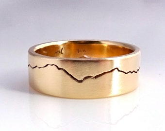 Gold Mountain Ring, 6mm yellow Gold band, your choice of range, mountain band, yellow ring