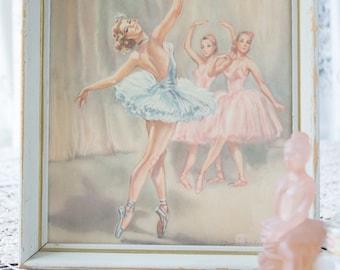 Pastel Signed Vintage Ballerina Print 8x10