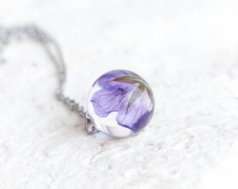 Woodland Geranium Necklace. Real preserved flowers jewelry. Summer memories gift. Purple wildflowers pendant