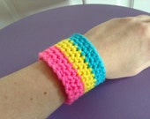Crocheted Pansexual Pride Wristband