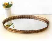 Vintage Gold Filigree Oval Vanity Mirror Tray. Metal Mirrored Tray for Perfume Dresser Bathroom  Hollywood Regency Style Mid Century Decor.