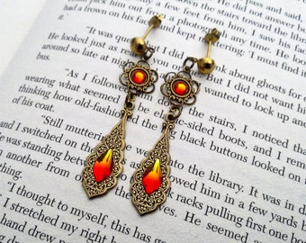 Gothic Earrings Swarovski Fire Opal Crystal Earrings Filigree Earrings Medieval Gothic Jewelry -  Aflamed Valkyrie Earrings