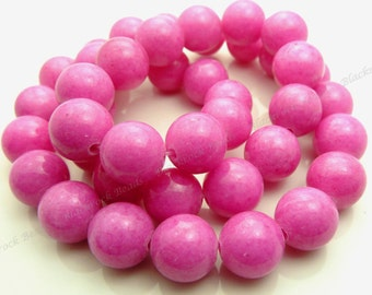 10mm Rose Pink Mashan Jade Round Gemstone Beads - 16 Inch Strand - BE4
