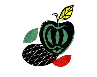 Apple Pop Linocut Print & Chine-collé 1 of 10