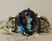 14k Yellow Gold Blue Topaz and Diamond Ring Size 6