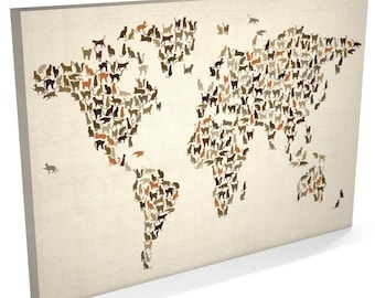 World map canvas watercolour map of the world box canvas art cats world map world map of cats box canvas art print 180 gumiabroncs Gallery