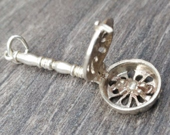 Get Well Soon Charm - Large Silver Bedpan Vintage Bracelet Charm/Pendant.