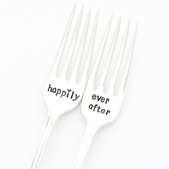 """Wedding Forks, Happily Ever After. Stamped Silverware for """"something old"""" engagement gift by Milk & Honey"""