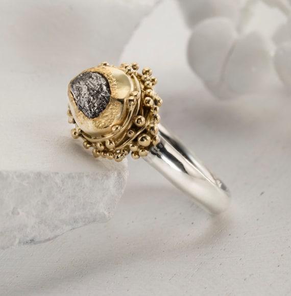 2 24 karat Rough Diamond engagement Ring Gold 22k Yellow Gold