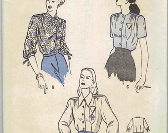 40s Shirtwaist Blouse Pattern with Bow Tie or Collar, Gathered Shoulders and Sleeve Options Pattern Butterick 4145 Unprinted Size 12 Bust 30