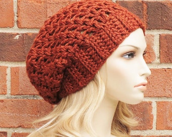 Crochet Slouchy Hat in Pumpkin Orange - Womens Slouchy Beanie Hat - Winter Crochet Beret  // THE HAVEN //