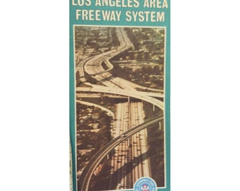 LOT 2 Vintage 1970s Los Angeles Freeway System Map AAA Automobile Club of Southern California