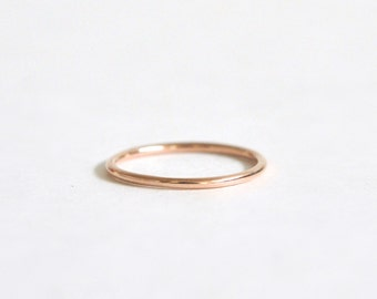 14k Rose Gold Ring- Women's Wedding Band- Thin Ring- 14k Rose Gold Wedding Band- Round Wedding Band- 1mm Wedding Band- Smooth Wedding Band