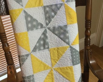 store closing sale modern baby quilt yellow and grey pinwheels baby blanket