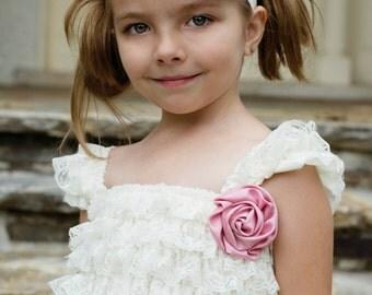 Ivory & Dusty Rose Headband - Baby Headband - Flower Girl Headband - Rhinestone Pearls - Dark Pink Cream- Newborn Baby Girls Wedding
