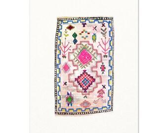 Boho Rug Watercolor Art Print. Boucherouite Rug Watercolor Painting.  Pink Moroccan Rug Art. Modern Boho Living Room Art. Girls Room Decor.