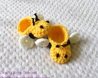 Bumble Bee Baby Booties / Slippers - Crocheted, Multiple Sizes