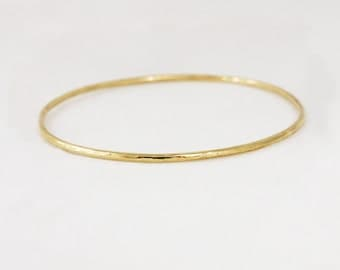 2mm 18k Gold Hammered Bangle Bracelet - Simple Gold Bracelet - Hammered Stacking Bracelet - Rose Yellow White